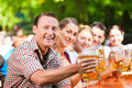 In Beer Garden - Friends Drinking Beer Stock Image - 32481091