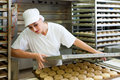 Female Baker Baking Bread Rolls Royalty Free Stock Photography - 32481287