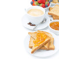 Toast With Orange Jam, Cup Of Cappuccino And Fresh Berries Stock Photo - 32487000