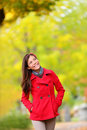 Thinking Autumn Woman Looking Up In Fall Forest Stock Photos - 32497763