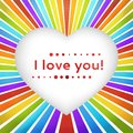 Rainbow Heart Background With Declaration Of Love. Royalty Free Stock Photography - 32499517