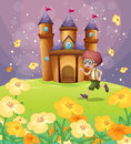 A Boy Running In Front Of The Castle With Flowers Royalty Free Stock Image - 32521486