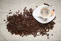 Hot Coffee With Beans Stock Photo - 32551430