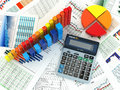 Business Concept. Cslculator Graph And Charts. 3d Stock Photo - 32565000