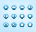 Set Of Round Blue Audio Player Buttons Royalty Free Stock Images - 32576449