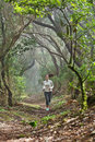 Runner Woman Cross-country Running In Forest Royalty Free Stock Photo - 32608885