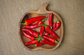 Wooden Bowl With Red Chili Peppers (space For Text), Top View Royalty Free Stock Photo - 32636785
