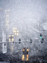 Driving In Severe Snow Storm Royalty Free Stock Images - 32668259