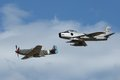 F-86 Sabre And CA-18 (P-51 Mustang) In Formation Royalty Free Stock Images - 32692199