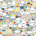 Crazy Seamless Pattern With Eggs And Monsters. Royalty Free Stock Image - 32705056