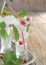 Glass Of Soda Water With Mint And Raspberry Royalty Free Stock Photography - 32706447