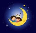 Children On The Moon With A Cat Stock Photography - 32709252