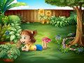 A Little Girl Watching A Butterfly Royalty Free Stock Image - 32709866