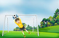 A Boy In A Yellow Uniform Catching The Ball Royalty Free Stock Photos - 32710508