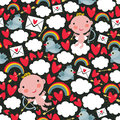 Cupid With Hearts And Birds Seamless Pattern. Stock Photos - 32711963