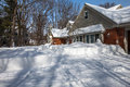North America Residemtial House Yard Covered With Deep Snow Royalty Free Stock Image - 32728326