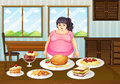 A Fat Lady In Front Of A Table Full Of Foods Royalty Free Stock Photography - 32733197
