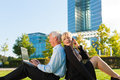 Business People Working Outdoors Royalty Free Stock Photo - 32739145