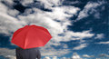 Leader Holding Red Umbrella For Show Different Think Royalty Free Stock Image - 32756316