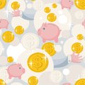 Seamless Pattern With Saving Pigs And Money. Stock Photo - 32784880