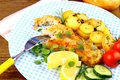 Fried Fish Fillet With Rosemary Potatoes And Vegetables Stock Photos - 32795363