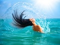 Girl Splashing Water With Her Hair Stock Images - 32798044