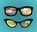 Retro Sunglasses With Super Abstract Reflection. Stock Photos - 32804263