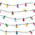 Seamless String Of Christmas Lights Isolated On White Stock Photography - 32816712