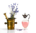 Copper Mortar With Lavender Royalty Free Stock Photography - 32824857