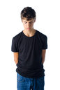 Sad Teenager Boy Grounded Looking Down Royalty Free Stock Photography - 32828127