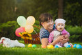 Happy Mom And Baby Are Playing In The Park Stock Photography - 32845182