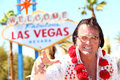 Elvis Impersonator Man In Front Of Las Vegas Sign Royalty Free Stock Image - 32855016