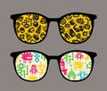 Retro Sunglasses With Robot Pattern Reflection. Stock Photography - 32866692