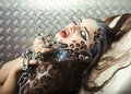 Beautiful Young European Model In Cat Make-up And Bodyart Stock Photo - 32870040
