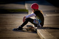 Skater Girl On Curb With Skateboard Stock Photography - 32873372