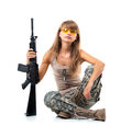 Soldier Young  Beautiful Girl Dressed In A Camouflage With A Gun Royalty Free Stock Photo - 32884485