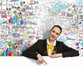 Businesswoman With Blank Banner Royalty Free Stock Photography - 32884777