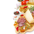 Italian Appetizers - Cheese, Sausage, Pasta, Spices, Tomatoes Royalty Free Stock Photography - 32902377