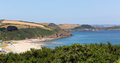 View Of Pentewan Beach Cornwall England With Beautiful Blue Sky And Sea Stock Photo - 32903900