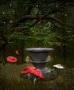 Fairies Pedestal In The Middle Of The Forest Royalty Free Stock Images - 32909699