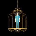 Man In Gold Bird Cage Royalty Free Stock Photo - 32911255