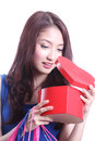 Women Opening The Red Box Royalty Free Stock Photography - 32911487