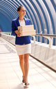 Girl In The Blue Jacket Is A Box Stock Images - 32911724