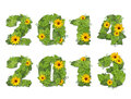 New Year 2014, 2013. Date Lined Green Leaves With Drops Of Dew A Royalty Free Stock Image - 32938446