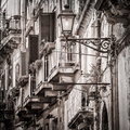 Beautiful Vintage Balconies And Street Lamp In Old Mediterranean Stock Image - 32938711
