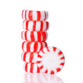 Peppermint Candy Tower  On White. Red Striped Peppermint Christmas Candy Stock Photography - 32938962