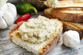 Toast Filled With Eggplant Salad Royalty Free Stock Photography - 32957927