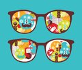 Retro Sunglasses With Spring Reflection In It. Stock Photography - 32977232