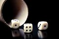 Dice On Old Wood Black Table Near A Container Stock Photos - 32987223