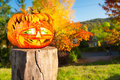 Jack O Lantern Outdoors Royalty Free Stock Images - 32987259